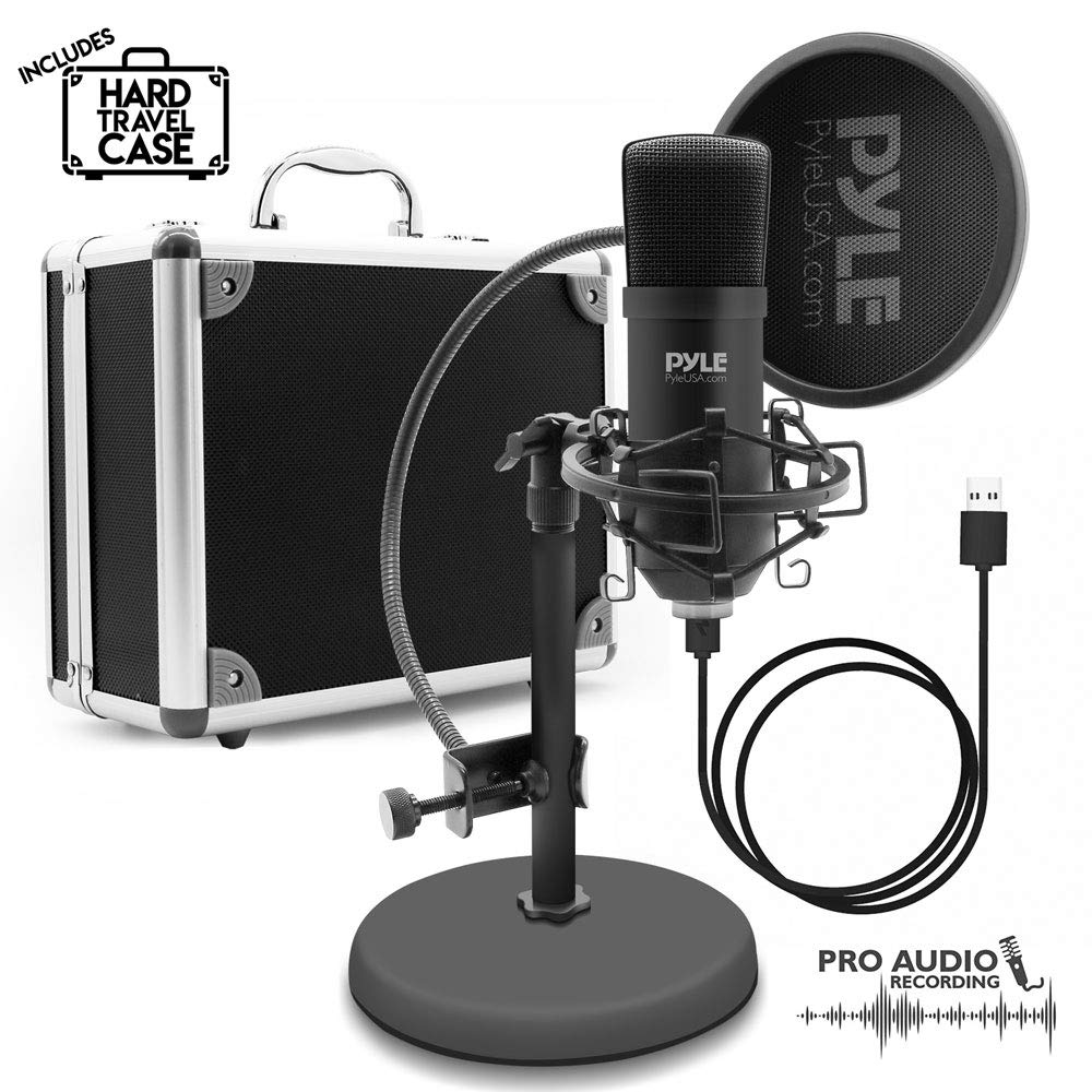 USB Microphone Podcast Recording Kit - Audio Cardioid Condenser Mic w/ Stand, Gooseneck Pop Filter, For Gaming Desktop, Streaming, Podcasting, Studio, Youtube, Works w/ Windows Mac PC - Pyle PDMIKT100