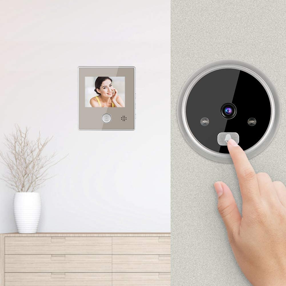Mirilla Digital con Pantalla LCD Conversaci/ón de Dos V/ías Visor Mirilla Puerta Impermeable Soporte Vision Nocturna para Seguridad del Hogar