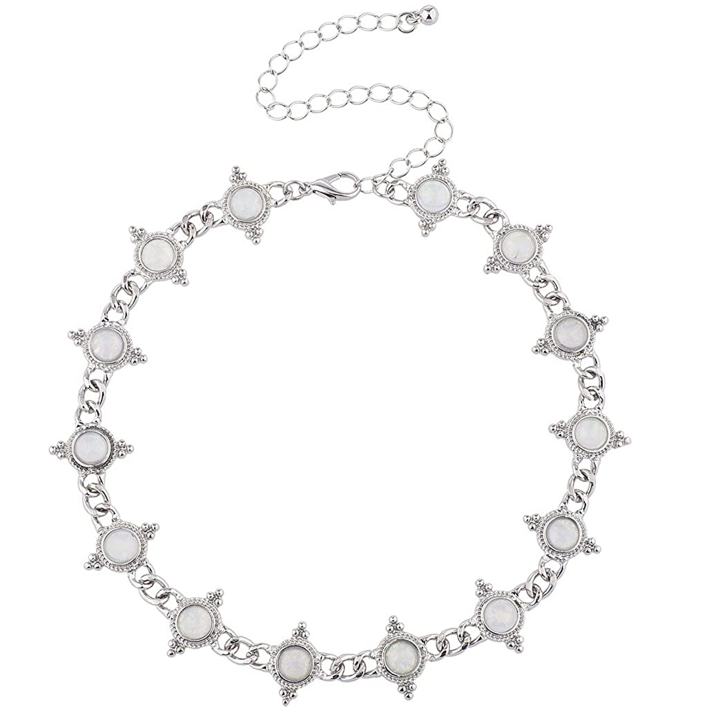 Lux Accessories Silver Tone White Opal Stone Vintage Antique Choker Necklace N263622-1-N2628