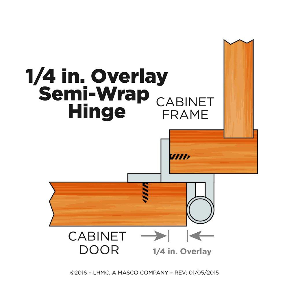 Liberty H01911C-SN-O 1//4-Inch Semi-Wrap Overlay Hinge