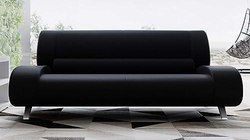 Zuri Furniture Modern Aspen Black Microfiber Leather Sofa Review