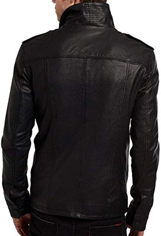 brandMe Mens Genuine Leather Pure Lambskin Biker Jacket MM381