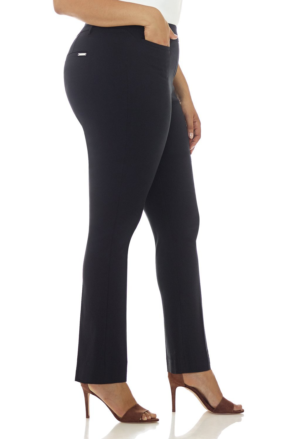 Rekucci Curvy Woman Ease in to Comfort Straight Leg Plus Size Pant w/Tummy Control (18W,Black) by Rekucci (Image #2)