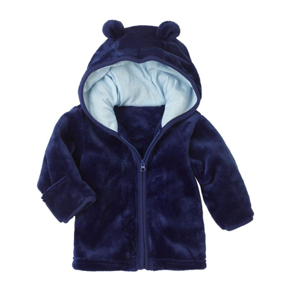 Winsummer Toddler Baby Boys Girls Fleece Hoodie Winter Warm Zipper Coat Jacket Cute Bear Shape Thick Coats Clothes (Blue,18M)