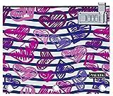 Vaultz Locking Binder Pouch, 9.7 x 8 x 1 Inches, Stripes/Heart (VZ03710)