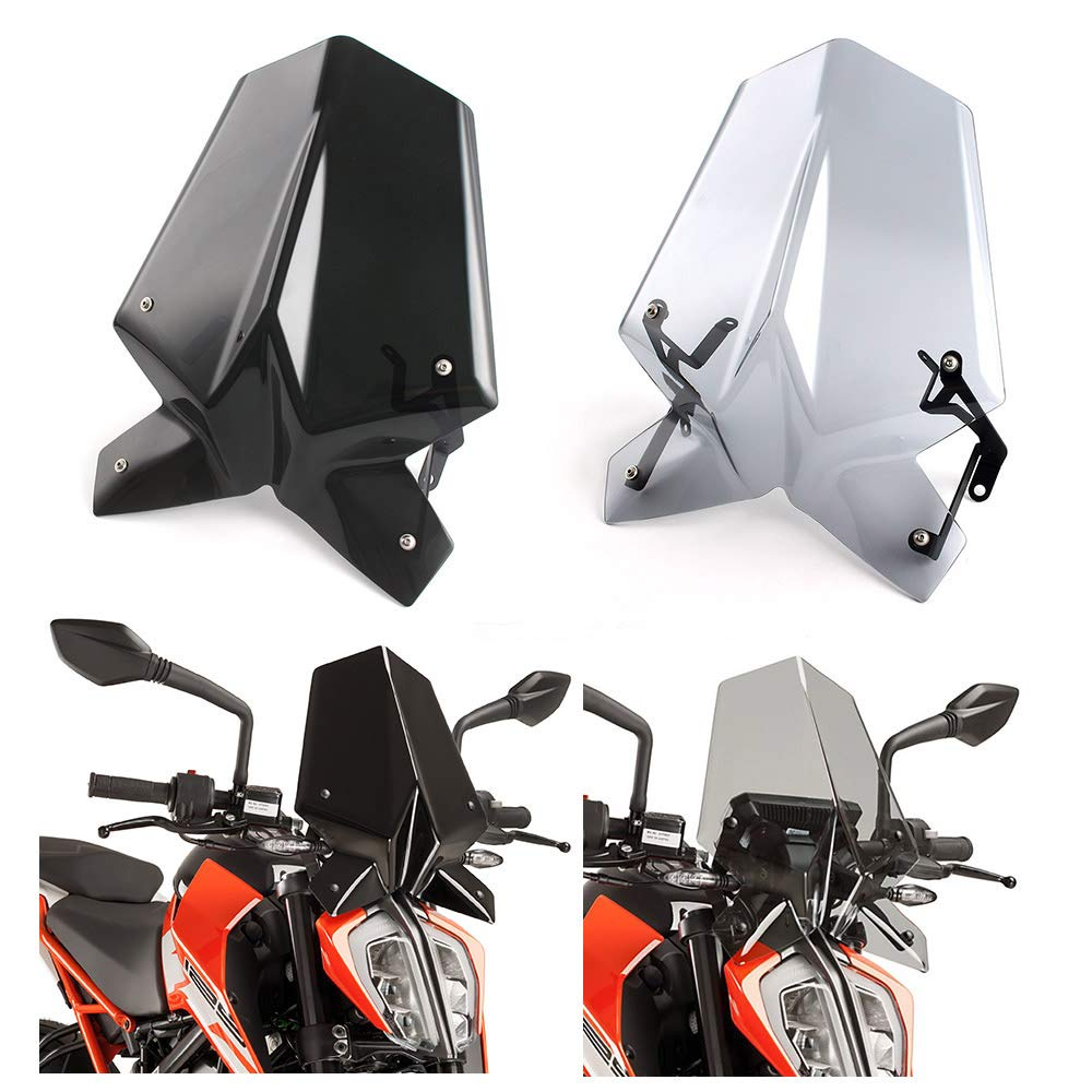 FATExpress Motorcycle Plastic Windshield Windscreen Wind Shield Screen Protector Cover with Mounting Bracket for KTM Duke SX RC 125 390 2013 2014 2015 2016 2017 2018 (Light Smoke)