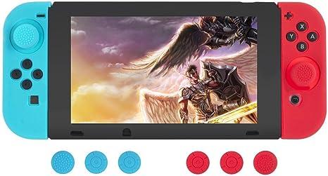 Nintendo Switch Funda de Silicona Protector Antideslizante de Silicona Para Mandos Joy-Con de Nintendo Switch (Rojo/Azul) Tapas Joystick y Cubierta Protectora de Silicona Para Consola - GEMYON: Amazon.es: Videojuegos