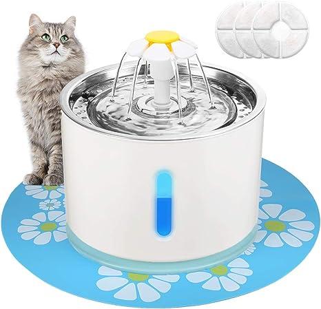 Amazon.com: EZVOV Fuente de agua para gato, acero inoxidable ...