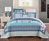 Tache 3 Piece Cotton Floral Patchwork Blue Elegance Reversible Bedspread Coverlet Quilt Set, King