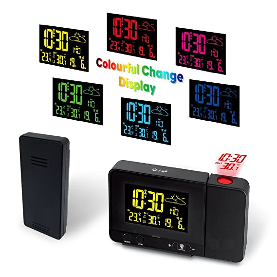 Protmex Despertador de la Proyección, Reloj y Despertador Proyección con Estación Meteorológica, 2 despertadores con Snooze Ajustable, Temperatura Exterior ...