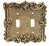 Amerelle 60TTAB Provincial Double Toggle Wallplate, Antique Brass