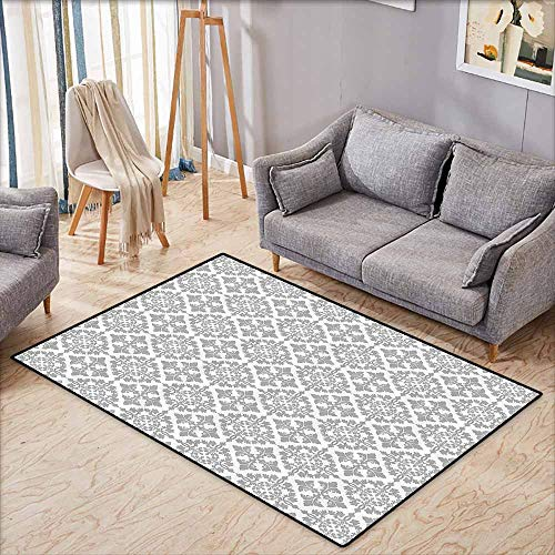 Large Door mat,Grey Decor,Antique Victorian Floral Retro Patterns in Modern Graphic Print Old Fashioned Boho Chic Art,Children Crawling Bedroom Rug,4'11