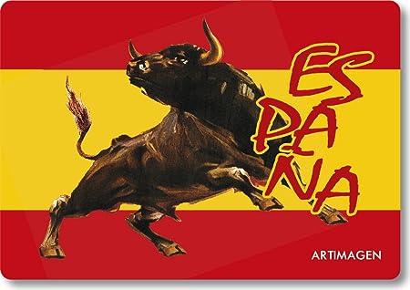 Artimagen Imán Bandera España con Toro Marrón 80x55 mm.: Amazon.es: Hogar