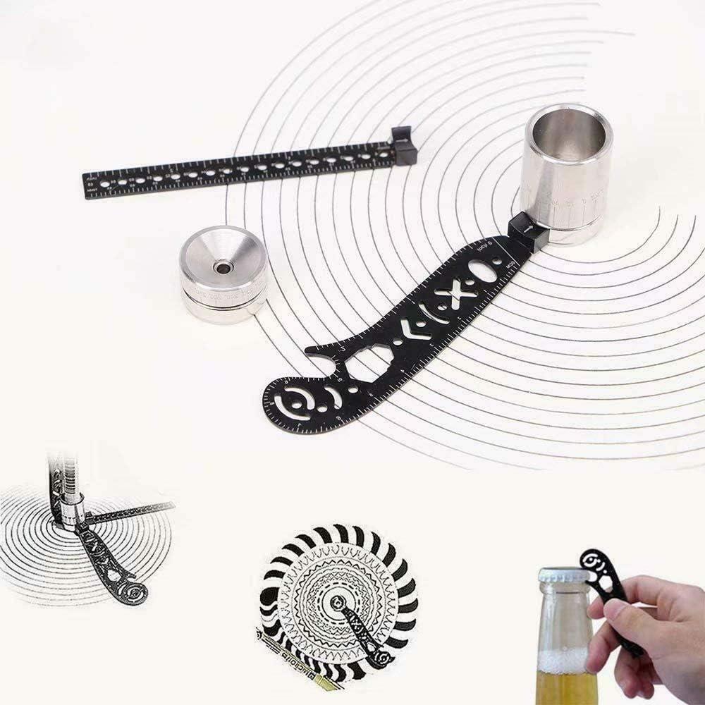 ustensile polyvalent,Accessoires de travail du bois Outil de dessin r/ègle m/étallique mini / EDC Stationery Loutil de dessin multifonctionnel tout-en-un