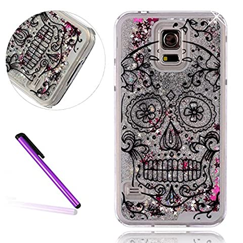 [Silver Liquid] Samsung S5 Case, Galaxy S5 Case, EMAXELER 3D Creative Design Flowing Liquid Floating Bling Shiny Liquid Polycarbonate Hard Case for Samsung Galaxy S5 + Stylus (Samsung Galaxy S5 Cases Hawaii)