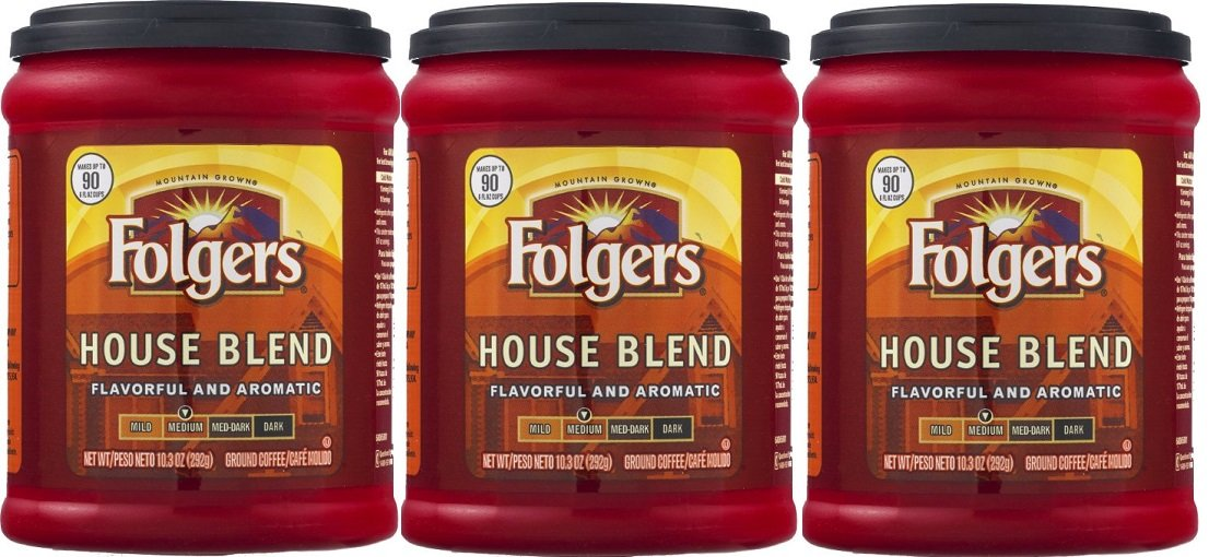 Fresh Taste of Folgers Coffee, House Blend, Flavorful and Aromatic 10.3 Oz Canister - (3 pk)