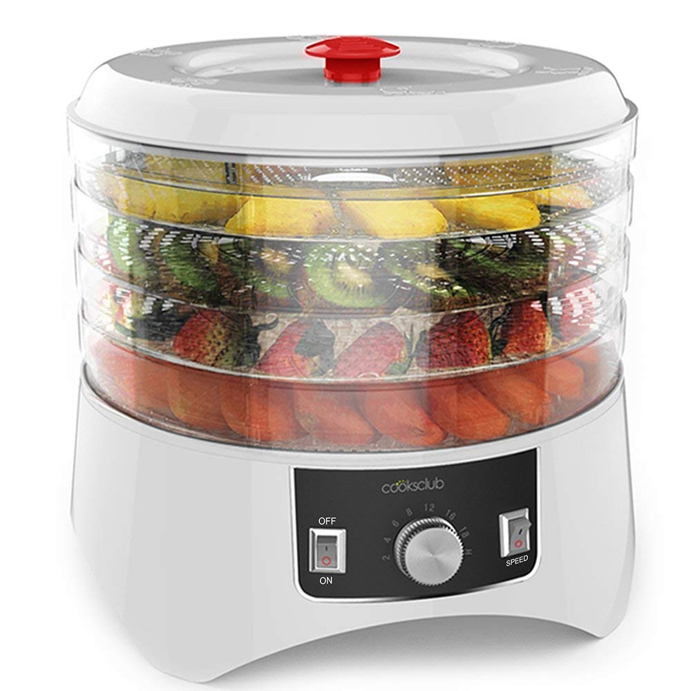 Cooks Club White Food Dehydrator with Adjustable Timer and Heat Settings Includes 4 Trays