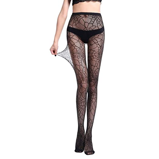 4b501db9e81 Amazon.com  NEWONESUN Women Sexy Fishnet Tights Jacquard Pantyhose Stockings  Lingerie (A)  Clothing