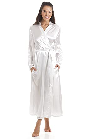 Camille Womens Cream Luxury Satin Dressing Gown at Amazon Womens Clothing store: