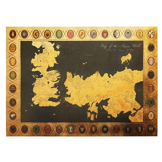 LELTWS Etiqueta de la Pared Juego De Tronos Mapa Vintage ...