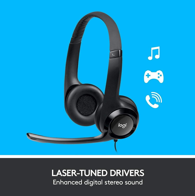 Sonido Est/éreo y Micr/ófono USB con Supresi/ón de Ruido Logitech H390 Auriculares con Cable Reacondicionado Negro Controles Integrados en el Cable PC//Mac//Port/átil