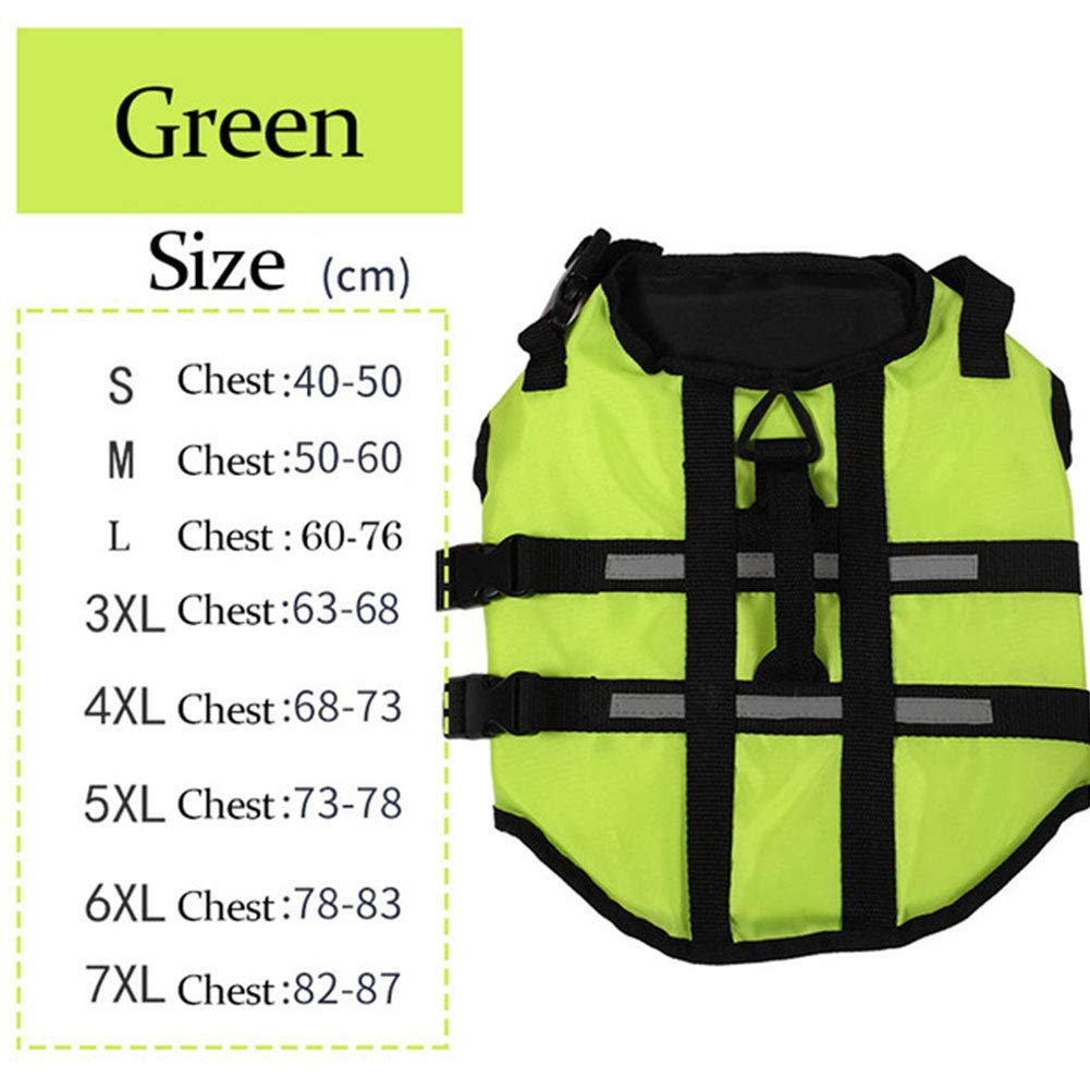 Green XXXL Green XXXL Dog Life Jackets Pet Floatation Life Vest with Handles for Easy Rescue