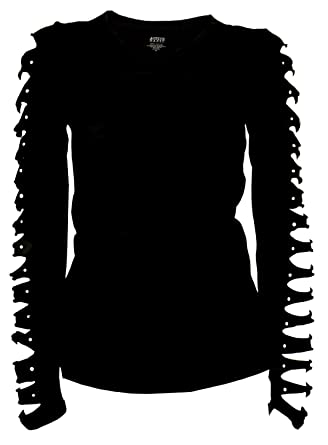 059f356b3 Bling Bling Long Sleeve Rhinestones T-Shirt Cut Out Ripped Top (Small)
