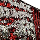 DUOBAO Sequin Backdrop 20FTx10FT Red to Silver Mermaid Reversible Sequin Photo Backdrop Red Home Decor Glitter Curtains