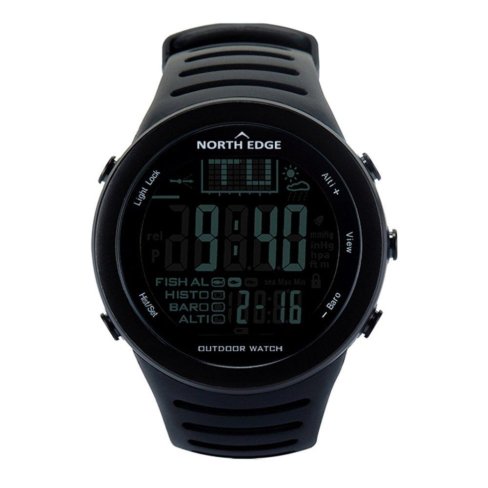多機能スポーツウォッチ屋外スポーツ釣り時計釣りリマインダー機能温度、空気圧、高さ、50M の深さ防水を測定できます。 B07HCZVXYZ Black