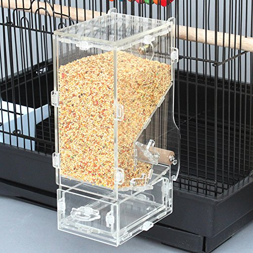 Rypet No-Mess Bird Feeder(Need to Install) - Parrot Integrated Automatic Feeder with Perch Cage Accessories for Budgerigar Canary Cockatiel Finch Parakeet Seed Food Container by Rypet