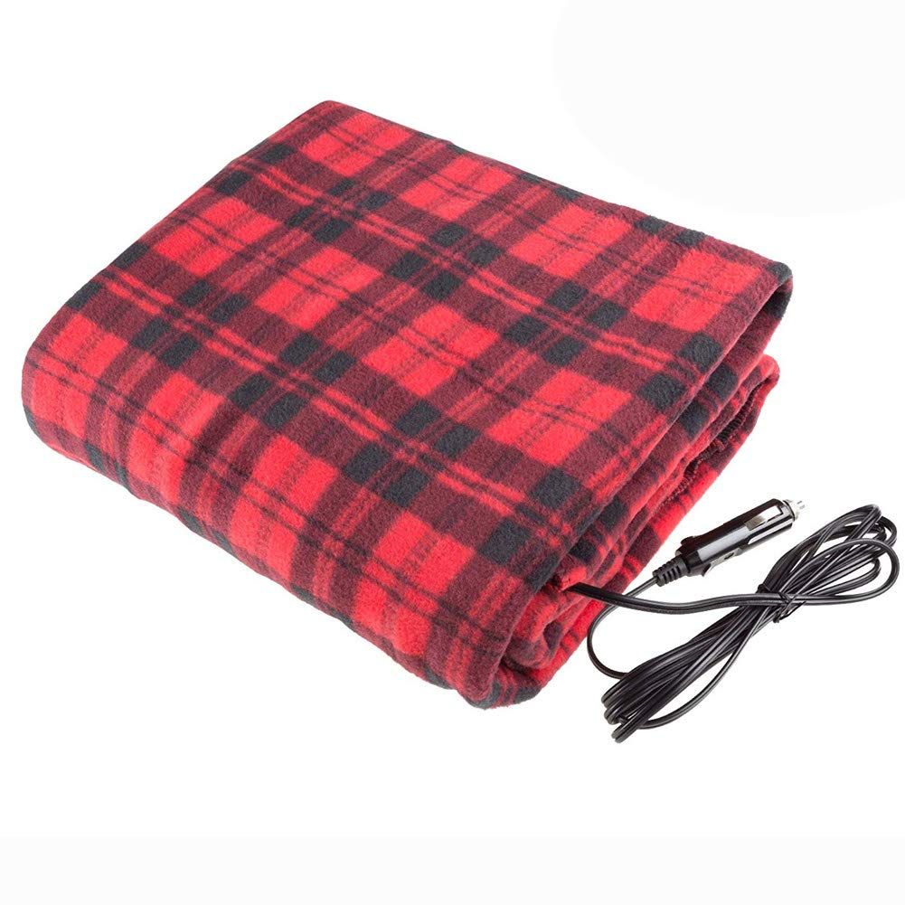 12V Heated Blanket, Car Electric Heating Blanket Fleece Vehicle Heated Travel Blankets with Intelligent Overheat Protection For Car Truck RVs Campers Boats
