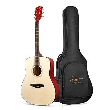Guitarra Acústica, Hricane Guitarra Clásica 41 Pulgadas Acabado Mate con Cuerda de Metal, Bolsillo Exterior y Cuerdas de Repuesto para llevar fácil ...