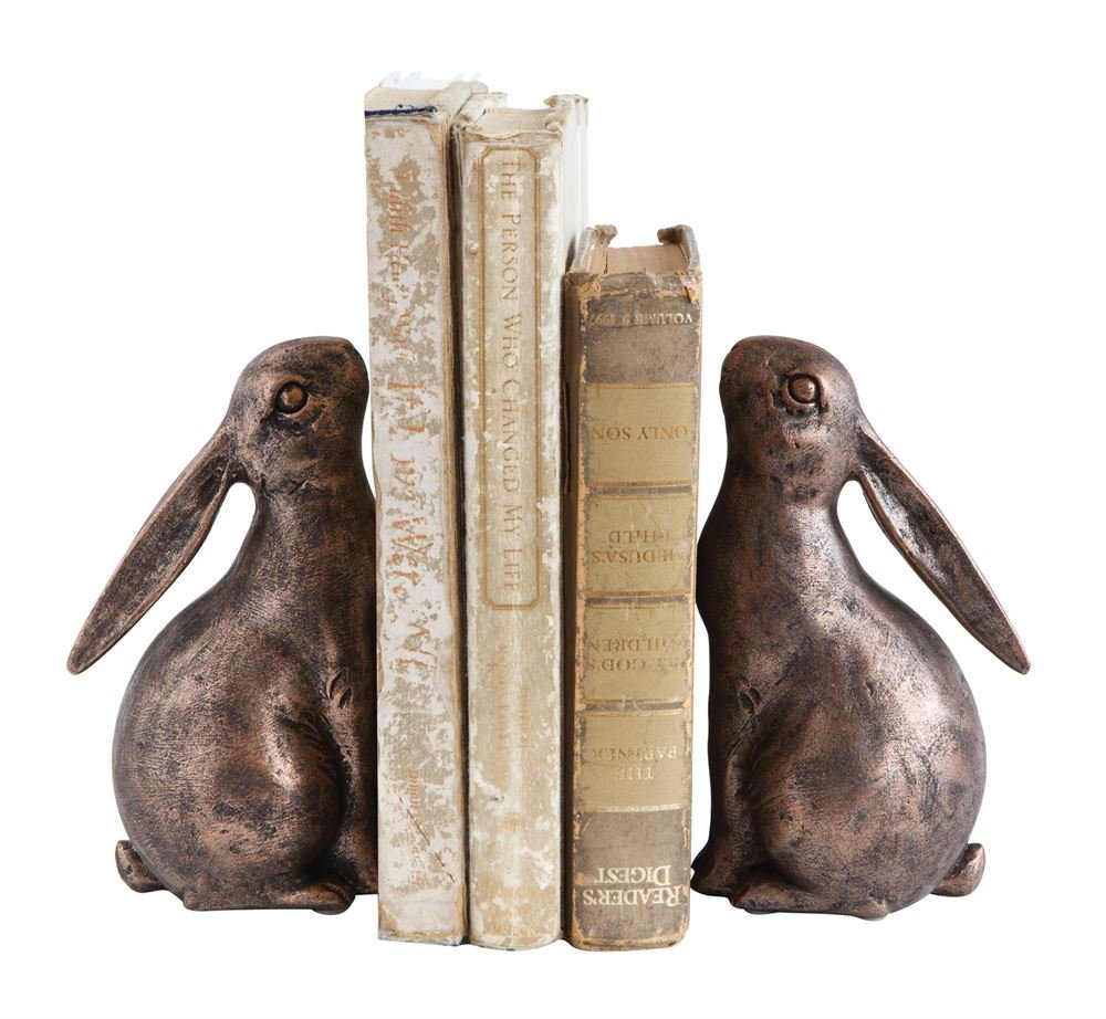 First of a Kind S/2 7-1/2 Lx3-1/4 Wx6-1/2 H Resin Bunny Bookends, Holds a Long Row of Books by First of a Kind