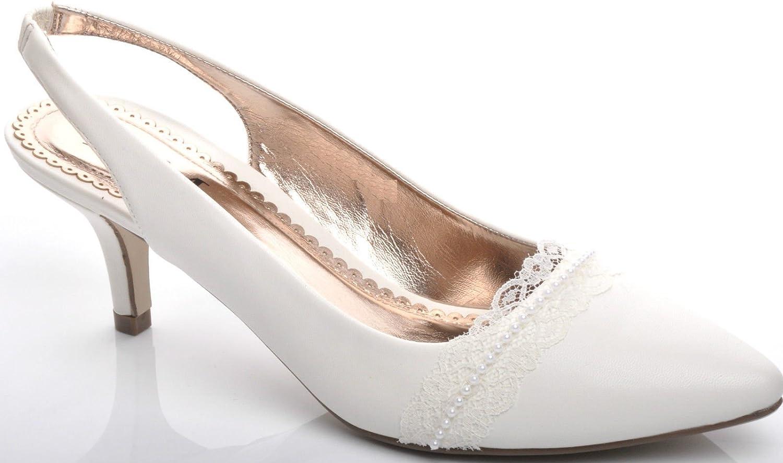 Light Ivory Lace Pearl Mid Heel Slingbacks Wedding Bridal Shoes