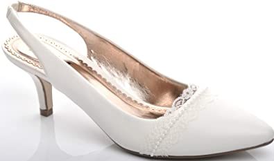 Wonderful Light Ivory Lace Pearl Mid Heel Slingbacks Wedding Bridal Shoes Photo Gallery
