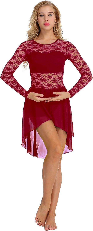 dPois Women Lyrical Dance Dress Costume Chiffon Lace Ballet Dance Leotard with High Low Skirt Burgundy X-Large