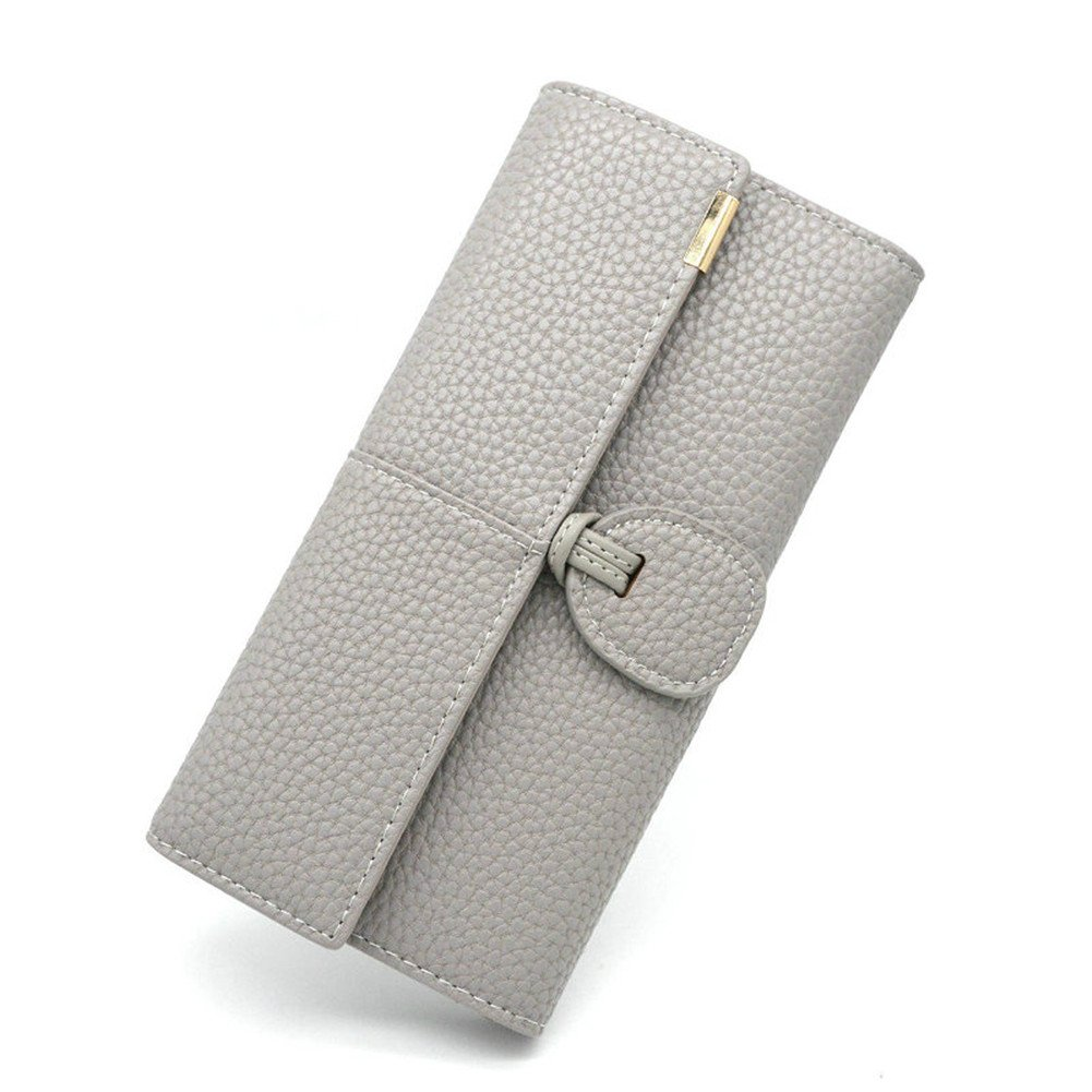 Womens Rfid Blocking Leather wallet ladies long wallet Travel purse Multi Card Trifold (Grey)