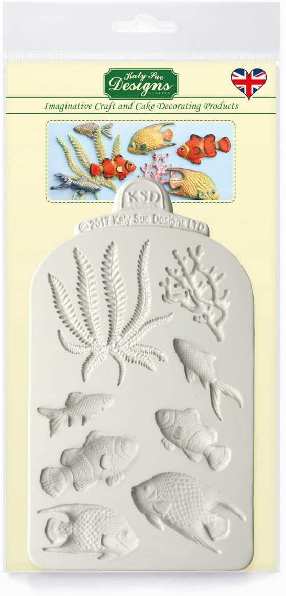 Fish, Seaweed and Coral Silicone Mold for Cake Decorating, Cupcakes, Sugarcraft, Candies, Clay, Crafts and Card Making, Food Safe