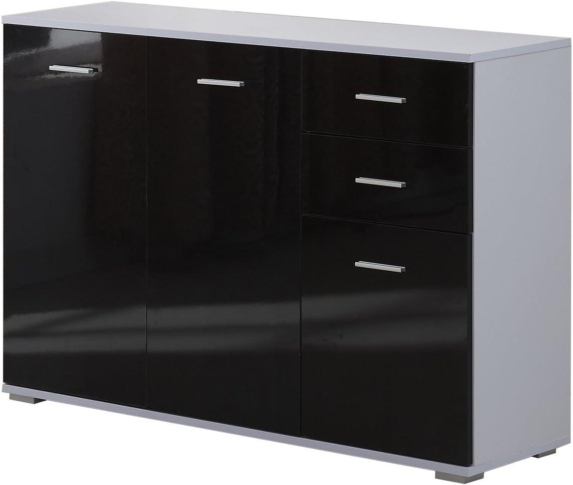 credenza con 2 cassetti colore: nero lucido 71 x 35 x 76 cm cassettiera 2 ante vidaXL mobiletto multiuso in truciolato