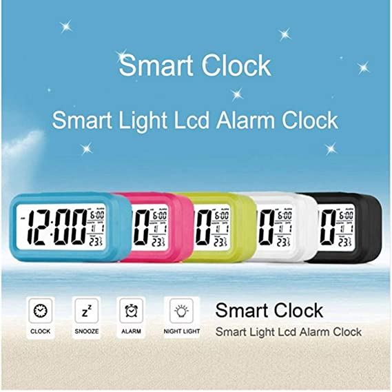 Simple Style Alarm Clocks, Alarm Clocks for bedrooms, LCD Digital Alarm  Clock, Calendar and Temperature Function, Wake up deep Sleepers (Blue)