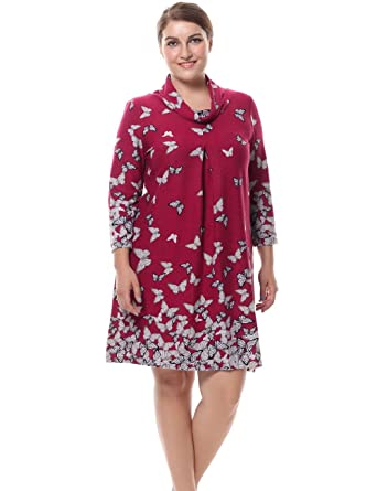 Chicwe Womens Plus Size Butterfly Print Dress Cowl Neck Cashmere