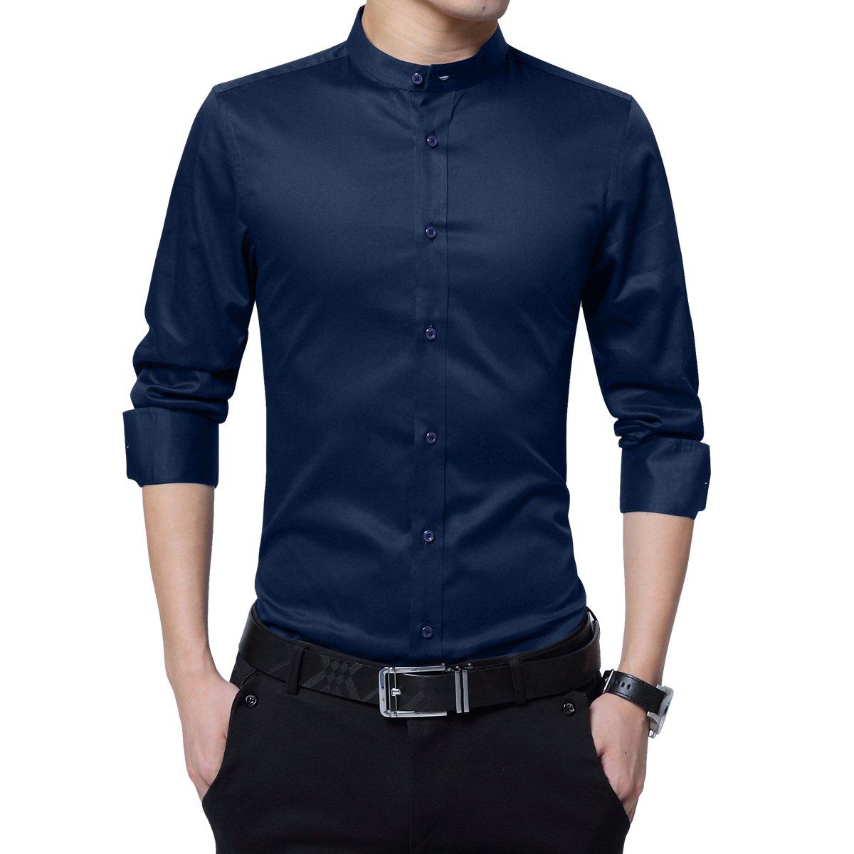 Boyland Mens Dress Shirt Long Sleeve Baned Collar Slim Fit Formal Shirt Business Office Wedding Work
