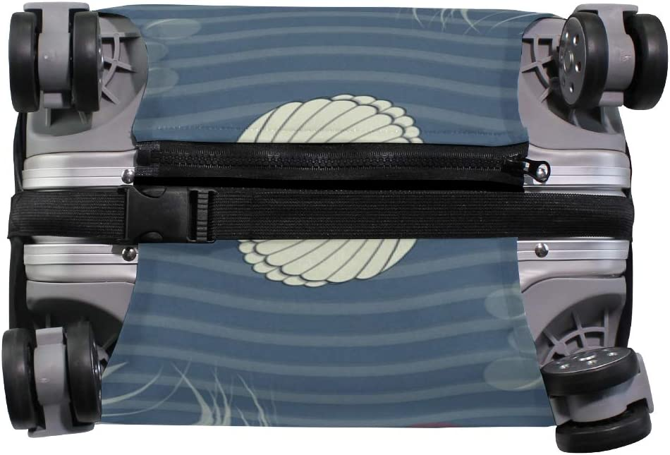 Travel Luggage Cover Sea Waves Fish Jellyfish Navy Suitcase Protector
