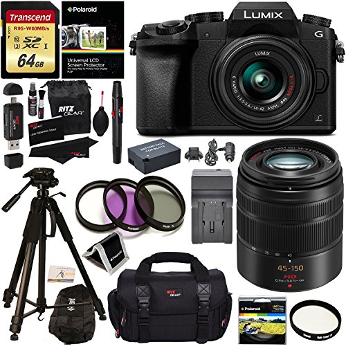 Panasonic G7KK Digital Single Lens Mirrorless 4K Camera 14-42 mm Lens Kit + Panasonic H-FS45150AK Lumix G Vario 45-150mm Lens + Accessory Bundle + Transcend 64 GB Memory + Polaroid Professional Tripod