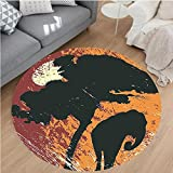 Nalahome Modern Flannel Microfiber Non-Slip Machine Washable Round Area Rug-Africa Theme A Tree and an Elephant under Sunshine Illustration Print Black and Marigold area rugs Home Decor-Round 71''