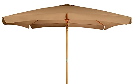 Trademark Innovations 10u0027 Rectangular Wood Frame Patio Umbrella ...