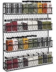 4 Tier Black Country Rustic Chicken Wire Pantry, Cabinet or Wall Mounted  Spice Rack Storageu2026