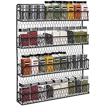 4 Tier Black Country Rustic Chicken Wire Pantry, Cabinet Or Wall Mounted Spice  Rack Storage