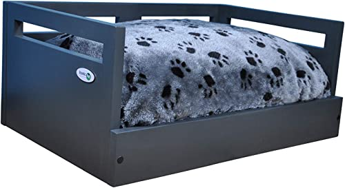 Iconic Pet Sassy Paws Wooden Pet Bed with Paw Printed Comfy Cushion for Dogs Cats in Varying Sizes Colors