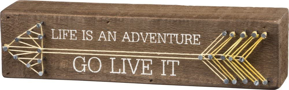 Primitives by Kathy String Art Box Sign, 8 x 2, Life is an Adventure